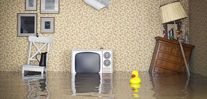 vintage room in disarray and flooding